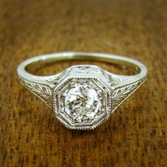Lacy Hexagonal Vintage Engagement Ring