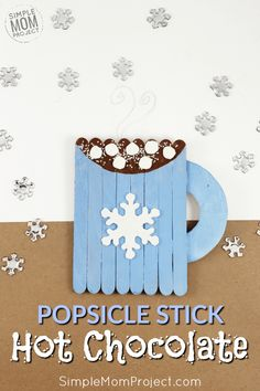 Easy Hot Chocolate Mug Popsicle Stick Ornament Craft For Kids - Simple Mom Project - Click Now and Start a family tradition with this easy and fun hot chocolate Popsicle stick ornament - Kids Crafts, Popsicle Stick Crafts For Kids, Winter Crafts For Kids, Craft Stick Crafts, Toddler Crafts, Popsicle Sticks, Winter Preschool Crafts, Craft Ideas, Ornament Crafts