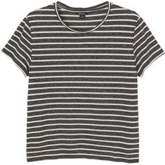 Katy striped tee (€12) ❤ liked on Polyvore featuring tops, t-shirts, shirts, tees, striped shirt, loose fitting shirts, grey shirt, grey striped shirt and gray striped shirt