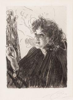 Anders Zorn (1860 - 1920) Cigarettrökerska II, 1891