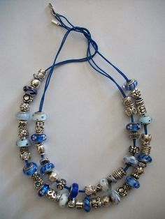 PANDORA Necklaces on Blue Lariats.  Impressive Collection of Blue Charms and Murano ♡