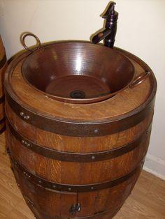 Whiskey Barrel Sink-Darker Finish-Copper Vessel Sink-Bronze Waterfall Faucet by AuntMollysBarrels on Etsy https://www.etsy.com/listing/233269629/whiskey-barrel-sink-darker-finish-copper
