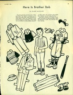 Antique 1952 Paper Doll Uncut Childrens Activities Magazine Here is BROTHER BOB