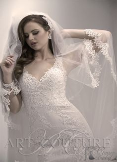 Balletts Bridal - 22356 - Wedding Gown by Jacquelin Bridals Canada - Column style lace tank gown with illusion back. Veil is included Bridal Dresses, Wedding Gowns, 2015 Trends, Lace Tank, Lace Overlay, Veil, One Shoulder Wedding Dress, Mermaid, Couture
