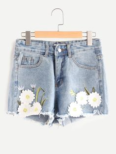 Shop Embroidered Appliques Frayed Hem Denim Shorts online. SheIn offers Embroidered Appliques Frayed Hem Denim Shorts & more to fit your fashionable needs.
