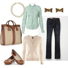Mint shirt, Beige sweater, Jeans, Brown shoes - Semi formal Outfit