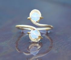 Opal Gold Toe Ring October Birthstone Crystals by 88Links on Etsy, $11.00