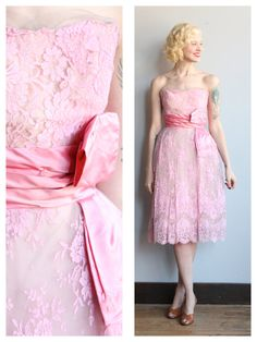1950s Dress // Peggy Hunt Lace Party Dress // by dethrosevintage