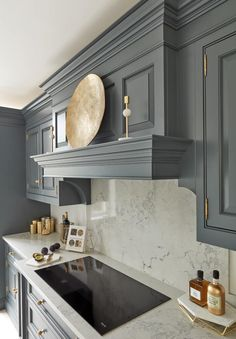 This stunning dark grey includes handcrafted bespoke cabinetry meticulously made to fit the room and create storage solutions to maximise space Grey Kitchen Designs, Luxury Kitchen Design, Kitchen Room Design, Home Room Design, Home Decor Kitchen, Kitchen Furniture, Kitchen Interior, Home Interior Design, Home Kitchens