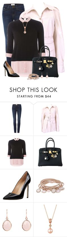 """""""pink n' black winter style"""" by kginger ❤ liked on Polyvore featuring Frame, Gucci, Dorothy Perkins, Hermès, Manolo Blahnik, Marjana von Berlepsch and LE VIAN"""