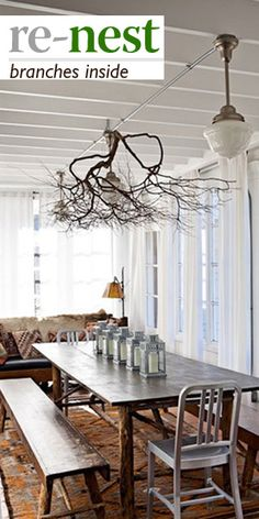 Light Up the Room with Beautiful Branch Chandelier! : Attractive Contemporary Dining Room With Natural Wooden Dining Table And Bench Also Lovely Branch Chandelier Design Also Classic Pendant Lamps Also Comely White Curtains Also Antique Couch Design Driftwood Chandelier, Branch Chandelier, Chandeliers, Unique Chandelier, Salvaged Decor, Diy Esstisch, Sweet Home, Branch Decor, Wall Decor