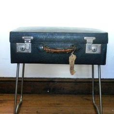 Suitcase Sidetable, 1920′s vintage navy case, stainless steel legs