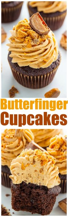 Homemade Chocolate Cupcakes topped with BUTTERFINGER Frosting! This recipe is a keeper. Homemade Chocolate Cupcakes topped with BUTTERFINGER Frosting! This recipe is a keeper. Just Desserts, Delicious Desserts, Dessert Recipes, Food Cakes, Cupcake Cakes, Cup Cakes, Cupcake Ideas, Cupcake Emoji, Butterfinger Cupcakes
