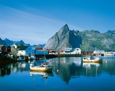 Lofoten Norway has mild tempatures year around do to southern winds. Yet it is still above the artic circle
