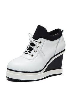 X&D Damenschuhe - High Heels / Ballerinas - Outddor / Lässig - Leder - Keilabsatz - Wedges / Komfort / Rundeschuh - Schwarz / Weiß - http://on-line-kaufen.de/tba/x-d-damenschuhe-high-heels-ballerinas-outddor
