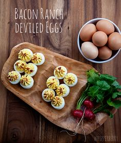 A classic remix, Bacon Ranch Deviled Eggs with Hidden Valley just in time for Easter.