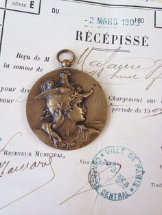 Antique French Marianne Medal by thejunkdiva on Etsy, $75.00