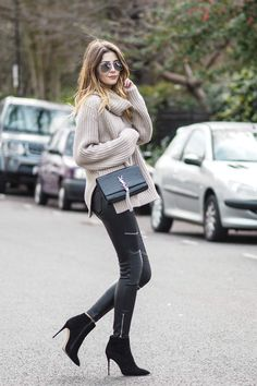 Zara leather zip biker trousers, chunky knitwear, YSL tassel bag, heeled ankle boots, chic outfit