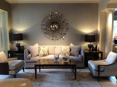 Living Room, Attractive Ideas For Decorating A Large Wall In Living Room With Different Shapes Of Unique Wall Mirrors: Large Wall Decorating Ideas for Living Room
