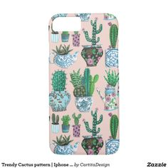 Trendy Cactus pattern | Iphone 7 Case Pretty Iphone Cases, Cute Phone Cases, Iphone Phone Cases, Iphone 8, Apple Iphone, Cactus Pattern, Valentines Gifts For Her, Design Case, Mobile Cases
