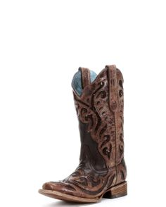 7389e407b6a Corral Women s Chocolate Sequin Inlay and Laser Square Toe Boot - C1199 Western  Boots