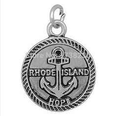 Antique Silver Plated Alloy Rhode Island Anchor Charm Rhode Island Hope Charm Jewelry