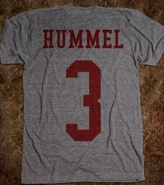 Kurt Hummel football jersey tshirt Remember when Kurt Hummel was on the football team? WM Football on front Hummel and his lucky number 3 on the back! Printed on Skreened T-Shirt