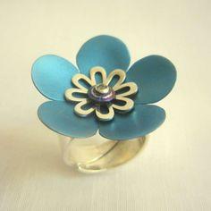 Handmade titanium silver ring flower shape turquoise blue color titanium ring modern style silver ring flower color titanium woman fashion handmade 81.00 EUR #goriani