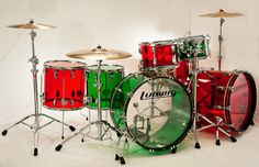 Now this is a Merry Christmas drumset -- Ludwig Vistalite red and green drums