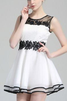Lace Splicing O-neck Sleeveless White Chiffon Dress