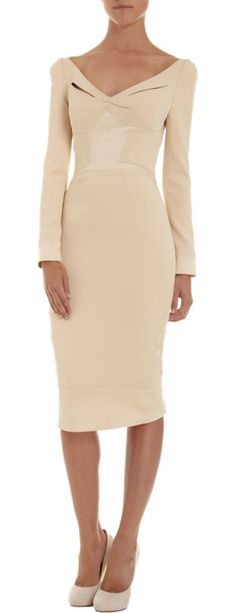 With this Zac Posen Long-Sleeve Wide V-Neck Dress ($2,290), you get a formfitting silhouette and a serious nod to an earlier era of cocktail dressing.