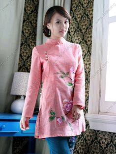 Women's Cotton Linen Pink Long-sleeve Hand-painted Blossom Tang Blouse - USD $ 123.00