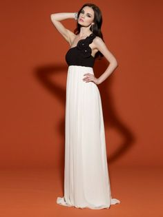 2014 Style A-line One Shoulder Hand-Made Flower Sleeveless Floor-length Chiffon Prom Dresses/Evening Dresses