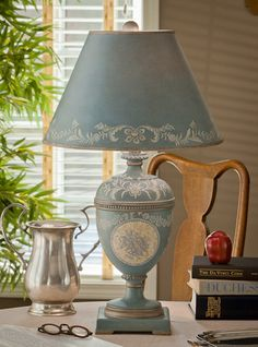 """Vintage Style Blue Tole Table Lamp French Country Shabby Cottage Chic- 27.5""""H"""