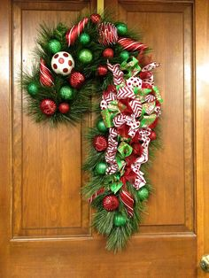"""2 SOLD! Christmas Candy Cane Wreath Door Decor Red Green & White Double Pine  (LG 32"""" x 12"""""""") on Etsy, $134.00"""