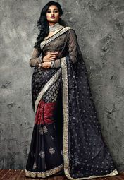 Iifa Collection By Vikram Phadnis Black Embroidered Saree