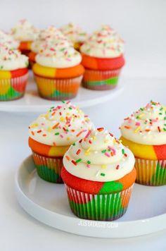Rainbow Cupcakes with Buttercream Frosting   recipe via justataste.com