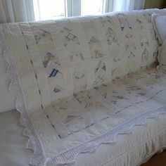 Never thought of putting crochet lace trim on a quilt, great idea and makes it so dainty looking