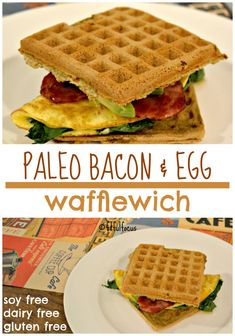 Combine two classic breakfast dishes into one amazing with this taste-bud pleasing Paleo Bacon & Egg Wafflewich! Healthy Breakfast Choices, Healthy Breakfast Recipes, Free Breakfast, Breakfast Time, Breakfast Ideas, Dairy Free Recipes, Paleo Recipes, Gluten Free, Waffle Recipes