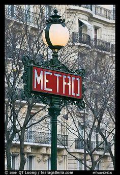 Metro sign. Paris, France (color)