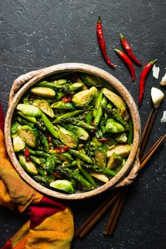 Chili & Garlic Stir Fried Brussels Sprouts with Asparagus - a quick and easy side dish that's ready in 20 minutes!