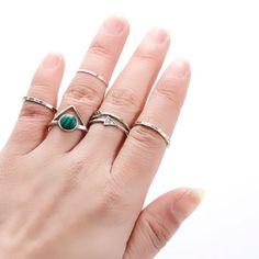 5PCS Bohemian Women Knuckle Midi Rings Antique Silver Color Arrow Malachite Gem
