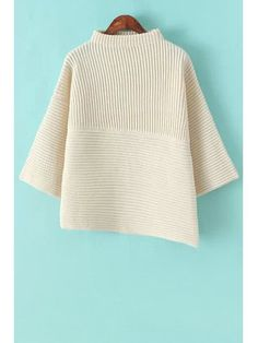 Stand-Up Collar Solid Color Asymmetrical Sweater - OFF-WHITE ONE SIZE(FIT SIZE XS TO M)
