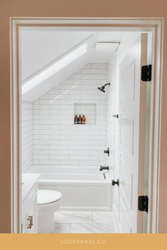upstairs bathroom reveal with matte black finishes— Lucky Andi Attic Shower, Small Attic Bathroom, Loft Bathroom, Upstairs Bathrooms, Bathroom Renos, Bathroom Renovations, Bathroom Ideas, Small Bathroom Layout, Brown Bathroom