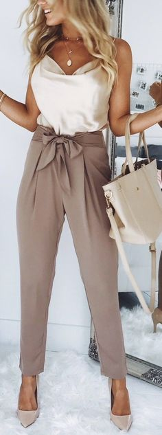 Brown pant and white