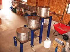 THE BREWSTAND - this is a nice homemade setup by a homebrewer in Michigan.  I really like how this 3-tiered system uses only one burner.  Very efficient!