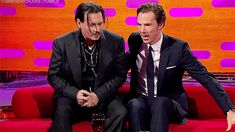THE GRAHAM NORTON SHOW (November 27, 2015) ~ Johnny Depp & Benedict Cumberbatch [GIF]