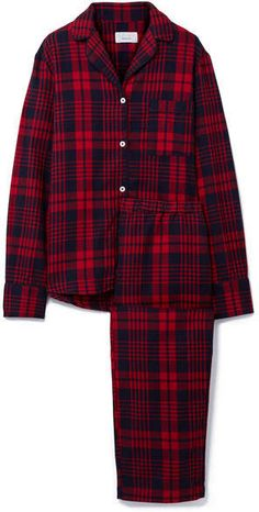 Three J Nyc Etoile Checked Cotton-flannel Pajama Set In Red/navy Check Red Pajamas, Flannel Pajamas, Cotton Sleepwear, Cotton Pyjamas, Red Flannel, Plaid, Matching Pajamas, Nyc Fashion, Indian Fashion