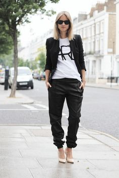 Leather baggy pants chic