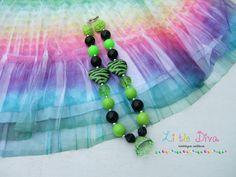 Lime Green Zebra Bubblegum Bead Necklace by LittleDivaBubblegum, $23.00